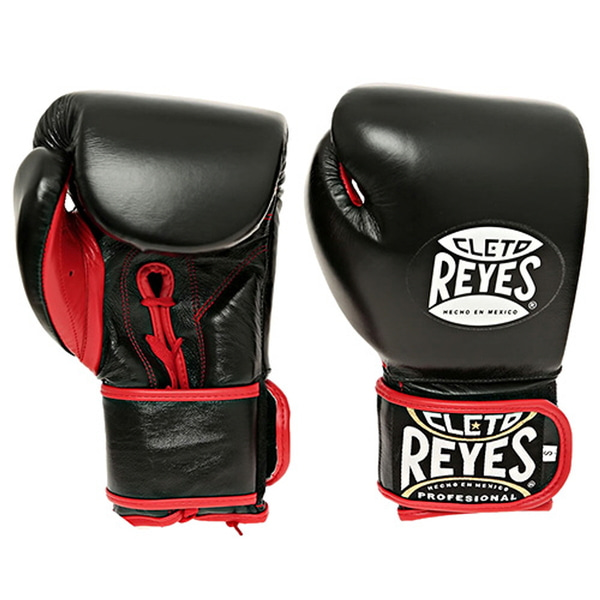 클레토 레예스 글러브 Cleto Reyes Lace up Hook and Loop Hybrid Boxing Gloves (Black)