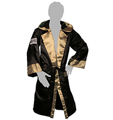 BOXING ROBES WITH HOOD IN SATIN POLYESTER(Bk & Gd)