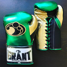 그랜트 글러브 Grant Boxing Gloves Metalic Gold Green Pro Fight Gloves