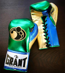 그랜트 글러브 Grant Boxing Gloves Metalic Green_Gold_Blue Pro Fight Gloves