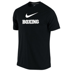 나이키 드라이 핏 티셔츠 / Nike Men's Dri-Fit Cotton Boxing Tee - Black / White