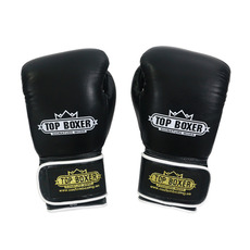 탑복서 가죽 밸크로 복싱글러브 블랙 (10oz/12oz) TopBoxer Leather Velcro Boxing Gloves Black