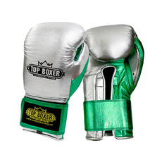 탑복서 가죽 밸크로 복싱글러브 실버/그린 (10oz/12oz) TopBoxer Leather Velcro Boxing Gloves silver/green