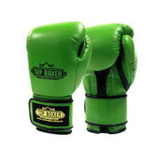 탑복서 가죽 밸크로 복싱글러브 그린 (10oz/12oz) TopBoxer Leather Velcro Boxing Gloves Green