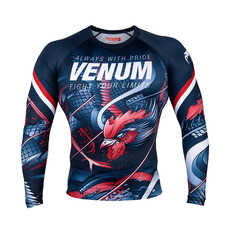 베넘 루스터 긴팔 래시가드 - 네이비 블루 / 오렌지 Venum Venum Rooster Rashguard - Short Sleeves - Navy Blue/Orange - SIZE( XS/S/M/L)- VENUM-03430-411