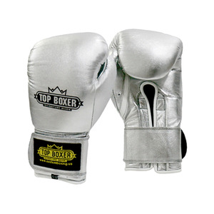탑복서 가죽 밸크로 복싱글러브 실버 (10oz/12oz) TopBoxer Leather Velcro Boxing Gloves silver