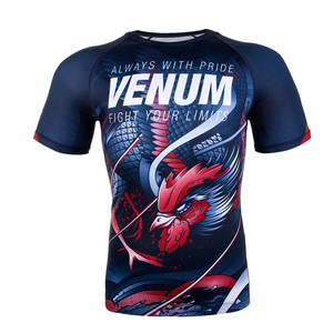 베넘 루스터 반팔 래시가드 - 네이비 블루 / 오렌지 Venum Rooster Rashguard - Short Sleeves - Navy Blue/Orange - SIZE( S/L) VENUM-03429-411